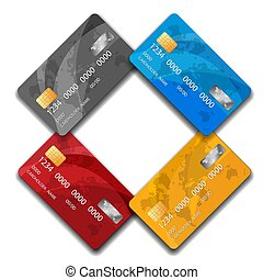 Set of Premium Credit cards, isolated, vector. Business Solution. Gold, red, blue, gray credit card.