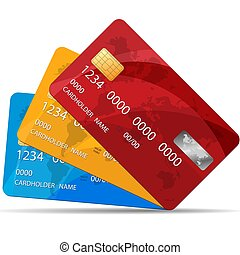 Set of Premium Credit Cards. Vector Illustration. Isolated. 3 colors of Credit Cards.