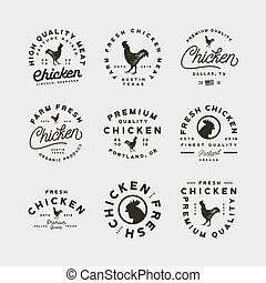 set of premium fresh chicken meat labels. vector...
