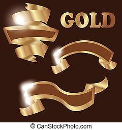 Set of premium golden ribbons for your design. Vector illustration
