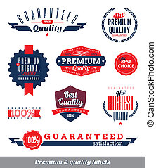 Set of premium & quality labels and