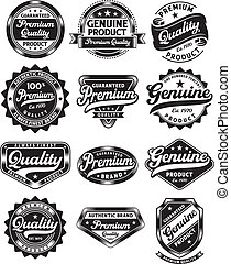 fully editable vector illustration (editable EPS) of premium quality and genuine vintage labels on isolated white background, image suitable for design element: stamp, seal, product label
