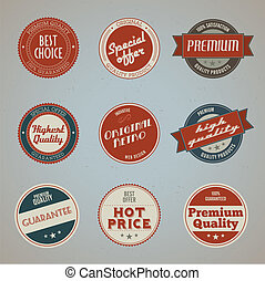 Set of premium quality labels - Set of vintage styled ...