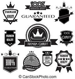 Set of premium quality labels with retro vintage style design