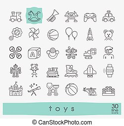 Set of premium quality line toy icons. Play and games icons.