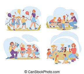 Set of preschool or kindergarten kids activities vector illustration isolated.