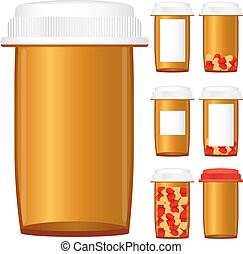 Set of prescription medicine bottles isolated on a white background, vector illustration