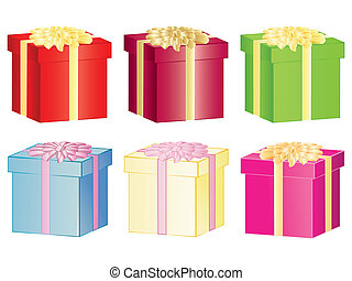 set of present boxes