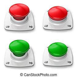 Set of pressed and depressed buttons