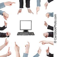 set of pressing forefinger - hand gesture