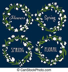 Set of pretty spring floral wreaths with dainty white...