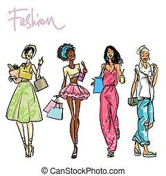 Set of pretty stylish women