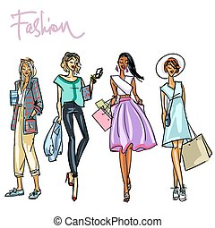 Set of stylish women with shopping bags