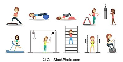 Set of pretty women doing exercises in the gym