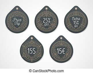 Set of price tag and discount label