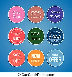 Set of Price Tag, discount, best price, Limited, Sale, Special offer, Sticker Banner
