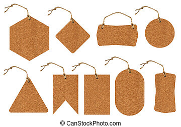 Set of price tags with cork texture.