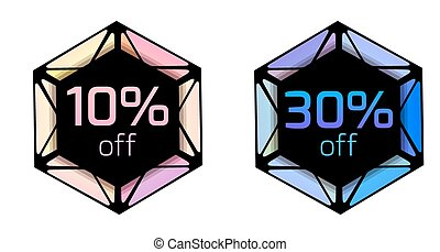 Set of price tags with polygonal elements and discount.