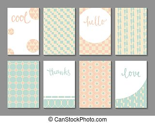Set of printable journaling cards with vintage patterns, hand lettering and space for your text. May be used for scrapbooking, posters, flyers, invitations, banners. DIY templates