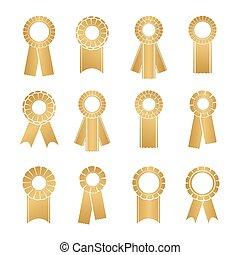 Set of prize ribbons