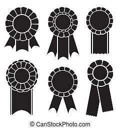 Set of prize ribbons - Set of graphic silhouette prize...