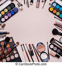 Set of professional cosmetics, makeup tools and accessories for women's beauty