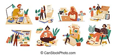 Set of professional journalist, copywriter, content manager, blogger with laptop, pencil, book. Concept of computer work, text typing, posting. Cartoon flat vector illustration on white background