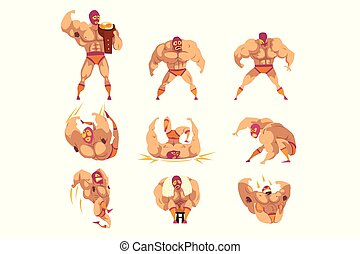 Set of professional muscular wrestler in different actions. ...