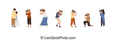 Set of professional photographers or cameramen at work. Collection of creative men and women holding cameras and taking photos. People photographing. Colorful flat vector illustration