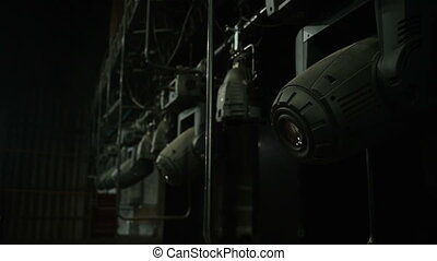 Set of professional stage lighting equipment for gig illumination