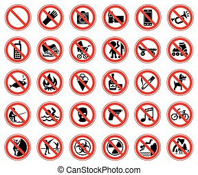 Set of prohibiting signs - Set of thirty prohibiting signs...