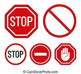 Set of prohibition signs. Flat design. Stop symbols. Vector icons.
