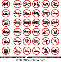 Set of prohibition signs for different means of transportation