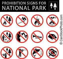 Set of prohibition signs for national park. - Collection of...