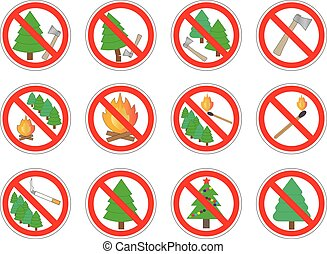 Set of prohibition signs of action in forest, vector