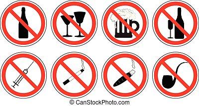 No drugs prohibition sign collection no smoking,no marijuana