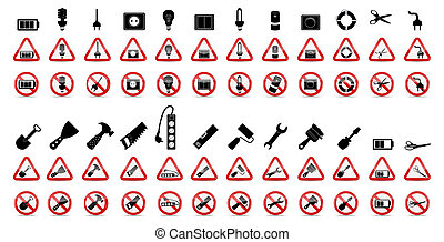 Set of Prohibition Signs. Vector Illustration