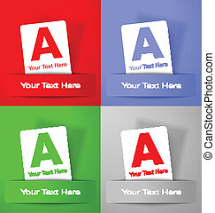 Set of promotion white paper cards on colorful backgrounds