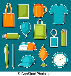 Set of promotional gifts and advertising souvenirs