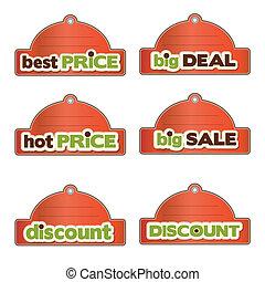 set of promotional labels