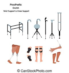 Set of Prosthetic, Crutch and Wrist and Knee Support - ...