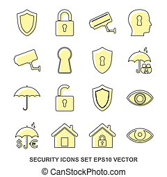 Set of protection Yellow icons. EPS 10, vector illustration.