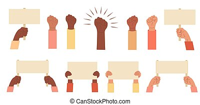 Set of protesters banners. Collection of manifestation sign placard hold in multicultural hand, peace protest poster and blank vote placards. Activist hand fist raised up isolated vector flat icons.