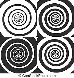 Set of Psychedelic spiral with radial rays, twirl, twisted comic effect, vortex backgrounds. Vector illustration. Design elements.