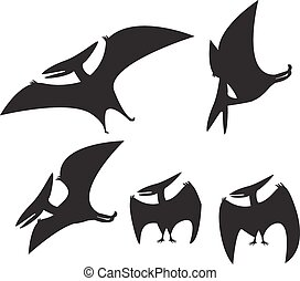 set of Pterodactyl silhouette