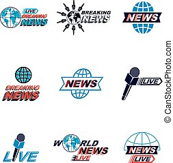 Set of public relations concept and press conference theme vector emblems and posters. Blue Earth, journalistic microphones composed with news writing. News and facts reporting.