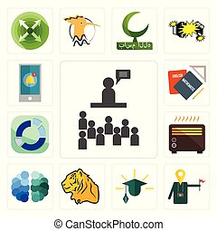 Set of public relations, tour guide, education, tiger, free brain, heater, sector, homework, notification icons