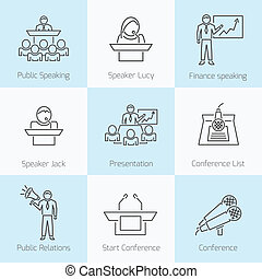 Set of public speaking icons - Set of public speaking...