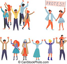 Set of Public Street Protest concept.