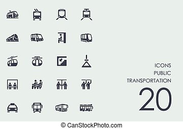 Set of public transportation icons